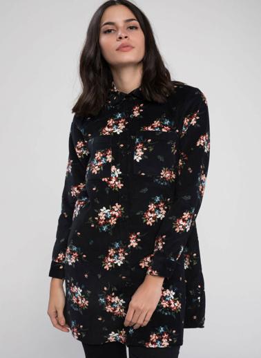 DeFacto Çiçek Desenli Kadife Gömlek Tunik Siyah